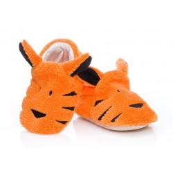 Niechodki niemowlęce w postaci pomarańczowych tygrysków.