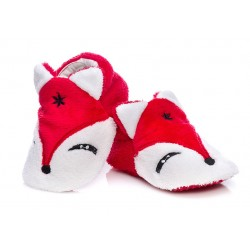 Czerwone lekkie kapcie niemowlęce - liski.