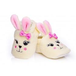 Kapcie niemowlęce dla dziewczynki - słodkie króliczki.