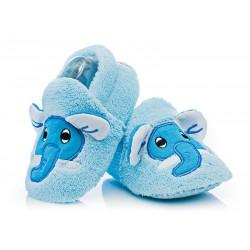 Kapcie niemowlęce dla chłopca - niebieskie słoniki.