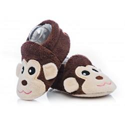 Kapcie niemowlęce niechodki - brązowe małpki.