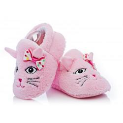 Buciki niechodki dla niemowlaka  - różowe kotki.