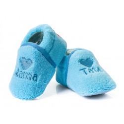 Buciki niemowlęce MAMA TATA  - niebieskie.