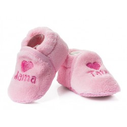 Różowe buciki niemowlęce dla dziewczynki - haft MAMA TATA.