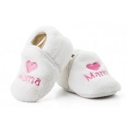 Ciepłe buciki niemowlęce dla dziewczynki z różowym haftem MAMA.