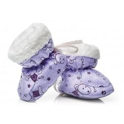 Fioletowe buciki niemowlęce - puchate.