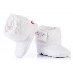 Ciepłe białe kozaczki niemowlęce - niechodki.