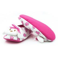 Dziewczęce balerinki domowe z odkrytą piętą - FL002 pink