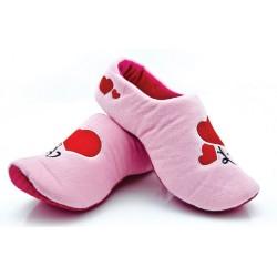 Lekkie dziecięce chodaki domowe - różowe w serduszka