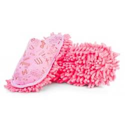 Kapcie z podeszwą czyszczącą z mikrofibry - różowe mopy.