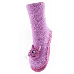 Skarpetki z materiałową podeszwą - KFP001 CAT pink