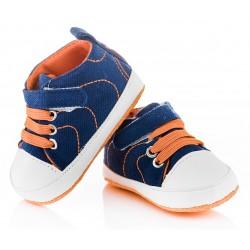 Trampeczki niemowlęce niechodki - KTR005 blue/orange