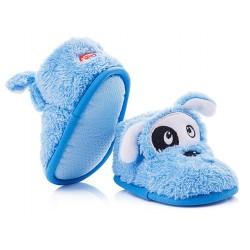Kapcie dziecięce zapinane na rzep - niebieskie pieski.