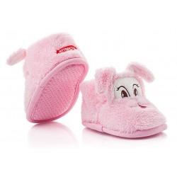 Kapcie dla dziewczynki zapinane na rzep - lekkie różowe pieski.