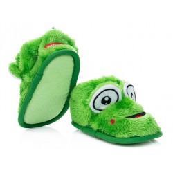 Domowe buciki dziecięce, kapcie zapinane na rzep - zielone żabki