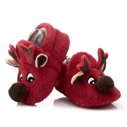 Świąteczne buciki niemowlęce w postaci renifera.