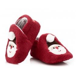 Ciepłe świąteczne buciki niemowlęce Święty Mikołaj.