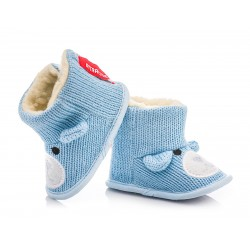Kozaczki niemowlęce niechodki - niebieski miś.