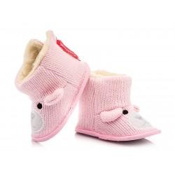 Kozaczki niemowlęce dla dziewczynki - różowe miśki.
