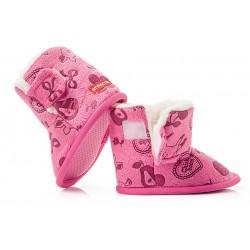 Ciepłe buciki dziecięce zapinane na rzep - KSO003 fuxia