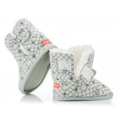 Ciepłe buciki dziecięce zapinane na rzep - KSO010 grey