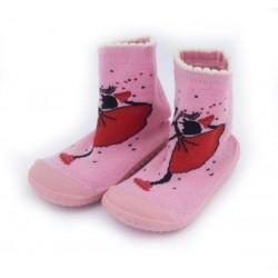 Skarpetki frotte z gumową podeszwą - KDI004 pink