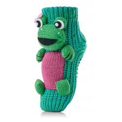 Skarpetki domowe dla dziecka - zielone żabki.