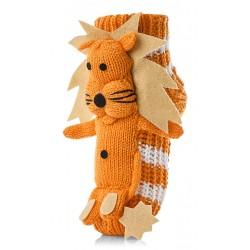 Skarpetki dziecięce domowe, system antypoślizgowy - pomarańczowe lwy.