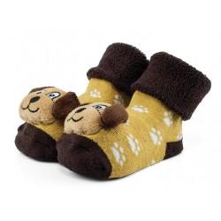 Skarpetki niemowlęce z grzechotką - beżowe pieski.