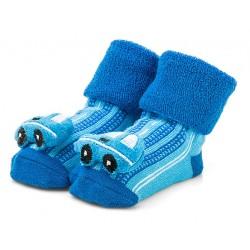 Niebieskie skarpetki niemowlęce z grzechotką - samochodziki.