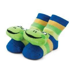 Skarpetki grzechotki. Skarpetki niemowlęce - zielone żabki.