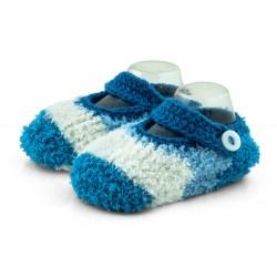Ciepłe pluszowe skarpetki z zapięciem na guzik - niebieskie