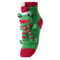 Skarpetki świąteczne żabki w świątecznej czapce.