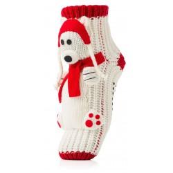 Skarpetki świąteczne na prezent na Mikołaja - pieski w czapce i szaliku.