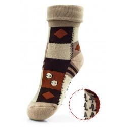 Bawełniane skarpetki dla dziecka do domu - frotka z antypoślizgami - brązowa...