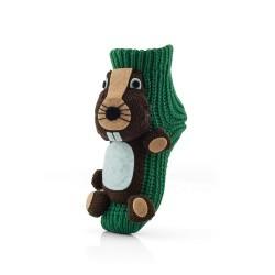 Zielone skarpetki domowe dla dziecka z ABS - z brązowym bobrem.