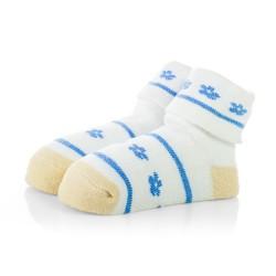 Skarpetki niemowlęce frotki białe w niebieskie wzory - TBS006 blue