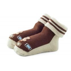 Skarpetki niemowlęce frotki brązowe - TBS032 brown