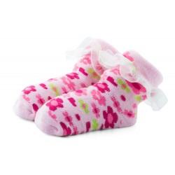Skarpetki niemowlęce frotki różowe z falbanką - TBS037 pink