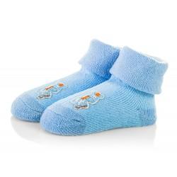 Bawełniane skarpetki dla niemowlaka - niebieskie frotki dla chłopca.